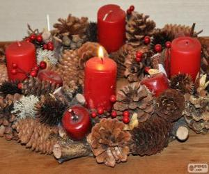 The Advent wreath, or Advent crown, is a Christian tradition that symbolizes the passage of the four weeks of Advent in the liturgical calendar of the Western church puzzle