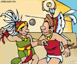 The ball game was a Mayan ritual, players struggle to pass the ball through the ring of stone puzzle