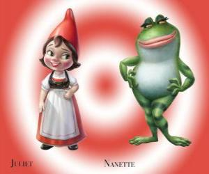 The beautiful Juliet the daughter of the leader of Red Garden gnomes, with his best friend Nanette frog garden puzzle