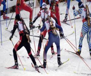 The biathlon in a winter sport of combining cross-country skiing with target shooting. puzzle