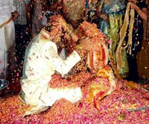 The bride and groom at the wedding or marriage following the Hindu tradition puzzle