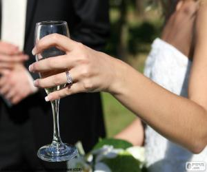 The bride with a glass of champagne puzzle
