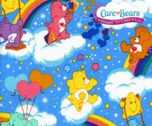 The Care Bears playing with the clouds and the rainbows puzzle