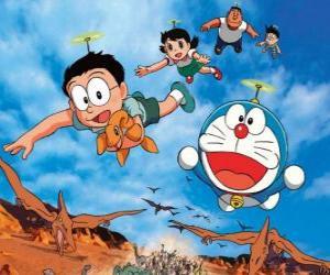 The cat Doraemon with his friends Nobita, Shizuka, Suneo and Takeshi puzzle