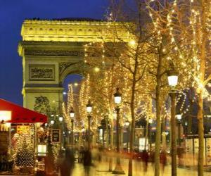 The Champs Élysées decorated for Christmas with the Arc de Triomphe in the background. Paris, France puzzle