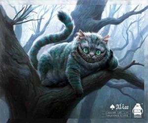 The Cheshire Cat resting on a tree branch puzzle