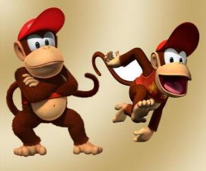The chimpanzee Diddy Kong, character in the video game Donkey Kong puzzle