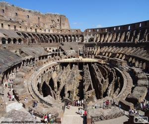 The Colosseum in Rome or Roman Coliseum, large amphitheater that was the site of gladiator fights puzzle