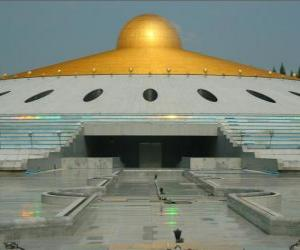 The Dhammakaya Cetiya is a symbol of world peace through inner peace in a  Buddhist parkland and sanctuary located in Thailand puzzle