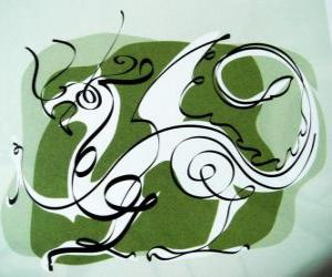The dragon, the sign of the Dragon, the Year of the Dragon. Fifth Chinese zodiac animal puzzle