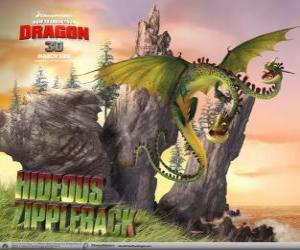 The dragons Hideous Zippelback cause explosions, while one head emits gas, the other ingnite it puzzle