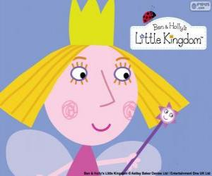 The face of the little fairy, the princess Holly with her crown puzzle