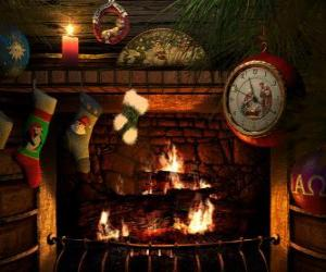 The fire lit on Christmas Eve with socks hanging puzzle