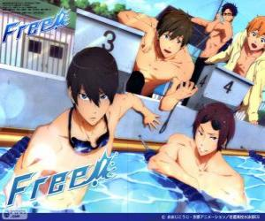 The five protagonists of Free! Rin, Haruka, Nagisa, Rei and Makoto puzzle
