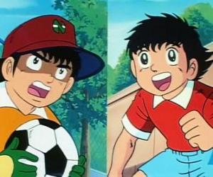 The footballer Tsubasa Ozora and his friend Genzo Wakabayashi who plays as goalkeeper puzzle