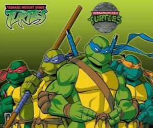 The four Ninja Turtles: Leonardo, Michelangelo, Donatello and Raphael. Teenage Mutant Ninja Turtles or TMNT puzzle