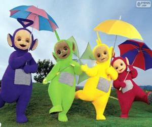 The four Teletubbies with their umbrellas open puzzle
