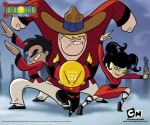 The four young monks, protagonists of Xiaolin Showdown puzzle