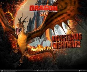 The gigantic dragons Monstrous Nightmare can attack any time of day or night, from the air or the ground puzzle