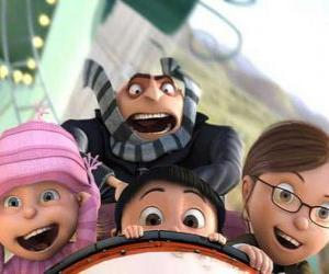 The girls and Gru have fun at the amusement park puzzle