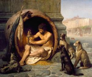 The Greek philosopher Diogenes of Sinope, within his barrel, on the streets of Athens puzzle