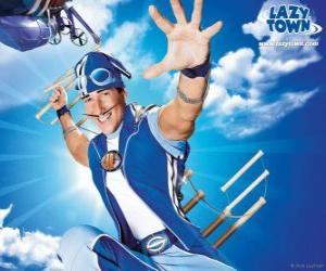 The hero of LazyTown, Sportacus, the healthy athlete puzzle