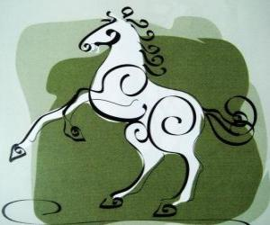 The horse, the sign of the Horse, Year of the Horse in Chinese astrology. The seventh animal of the Chinese Zodiac puzzle