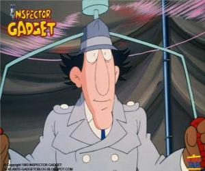 The Inspector Gadget using one of his gadgets, the helicopter from the hat puzzle