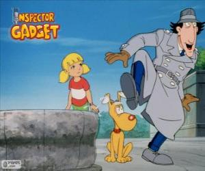 The Inspector Gadget with his niece Penny and her dog Brain puzzle