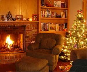 The living room of a house on Christmas night on the fire and the tree with gifts puzzle