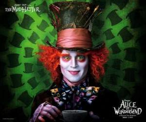 The Mad Hatter (Johnny Depp), a character who helps Alice puzzle