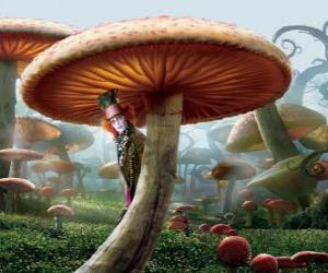 The Mad Hatter (Johnny Depp), hidden under a mushroom puzzle