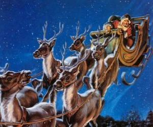 The magic reindeer pulling Santa's sleigh on Christmas night puzzle
