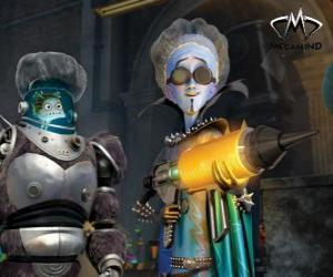 The main character, the evil alien Megamind with Minion, the fish wise puzzle
