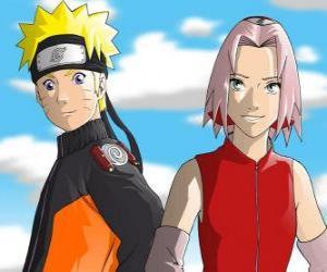 The main characters Naruto Uzumaki and Sakura Haruno smiling puzzle