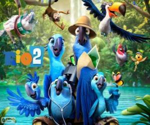 The main characters of the film Rio 2 puzzle