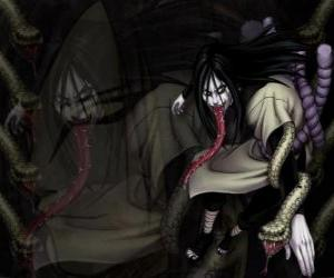 The ninja Orochimaru with snakes as part of his body after various modifications puzzle