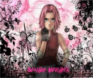 The ninja Sakura Haruno is the only woman in the Group 7 team puzzle