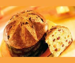 The panettone, is a traditional Christmas dessert in Milan (Italy). puzzle