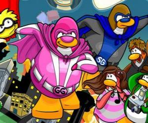 The penguins superheroes from the Club Penguin puzzle