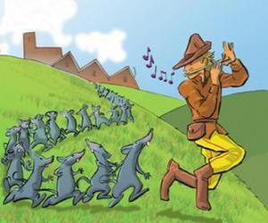 The Pied Piper of Hamelin playing the flute followed by rats puzzle
