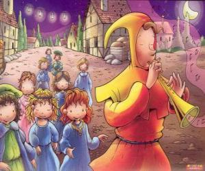The Pied Piper of Hamelin mysteriously with all children of the town behind the sound of the flute puzzle