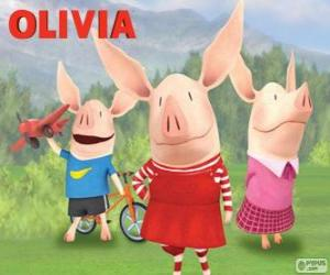 The pig Olivia with his brothers William and Ian puzzle