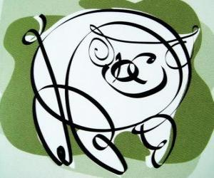 The pig, sign of the Pig, the year of the Pig in Chinese astrology. The last of the twelve animals in the Chinese zodiac puzzle