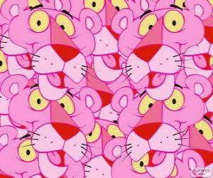The Pink Panther, a funny cartoon character puzzle