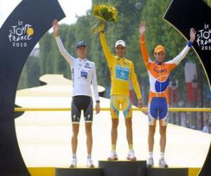 The podium of the 97th Tour de France: Alberto Contador, Andy Schleck and Denis Menchov, in Arc de Triomphe and the Champs Elysees background puzzle