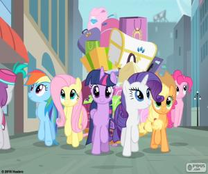 The ponys at the arriving in Manehattan puzzle