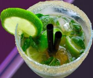 The popular mojito cocktail is a native of Cuba, made of rum, sugar (or sugar syrup), lime, mint, or mint and sparkling water. puzzle