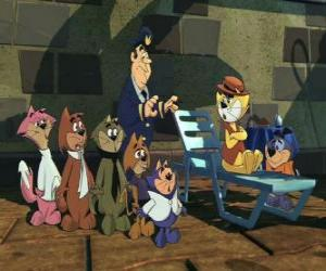 The protagonists of the film Top Cat puzzle