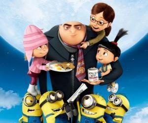 The protagonists of the movie Despicable Me. The supervillain Gru and the Minions; and Margo, Edith and Agnes, three orphaned girls puzzle